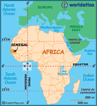 Map of location of Senegal