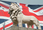 Flag of United Kingdom with emblem Lion